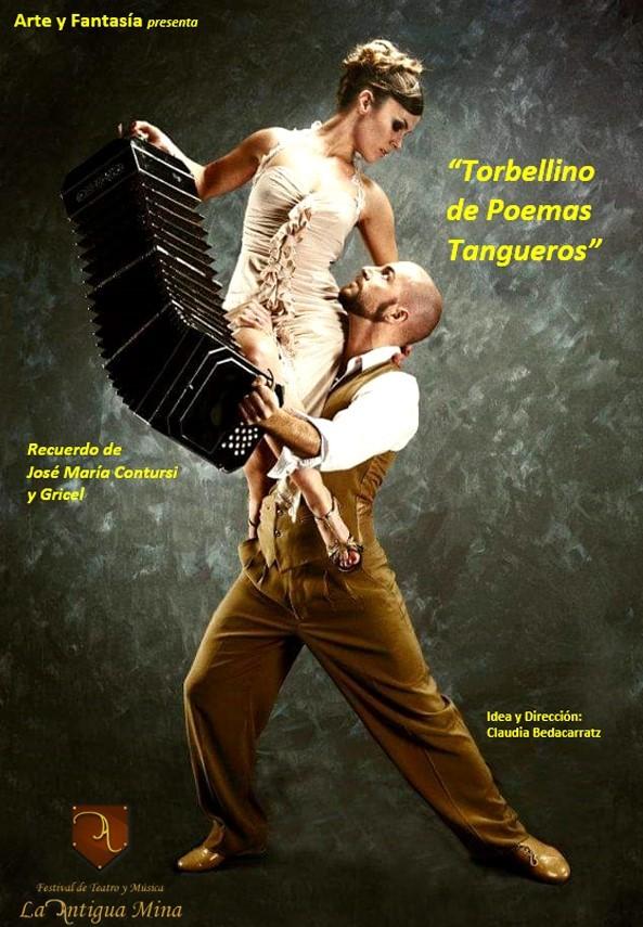 """Obra: TORBELINO DE POEMAS TANGUEROS de Claudia Bedacarratz, inspirado en el libro de Rafael Flores """"Amor en el tango""""."""